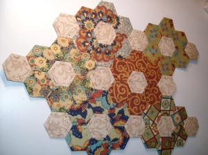 Car Quilt, progress shot.  Lots more hexies made up, just not sewn together.